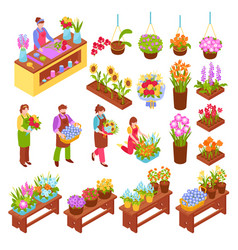 Florist isometric set vector