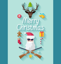Funny christmas poster vector