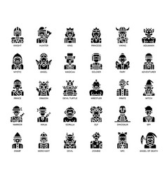 Game characters glyph icons vector