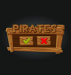 game pirates user interface play window buttons vector image