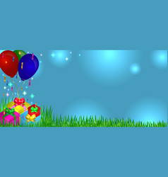 Gifts on grass with balloons vector