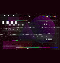 Glitch television on black background retro vhs vector