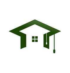 Graduation cap home shape space symbol design vector