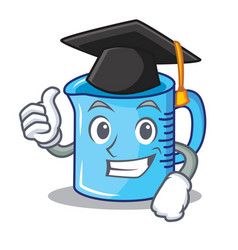 Graduation measuring cup character cartoon vector