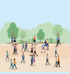 group of people walking and running on the park vector image