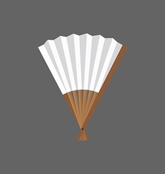 Half-opened fan white and wooden in vector image