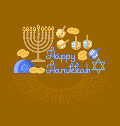 hanukkah greeting card jewish holiday vector image