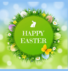 happy easter postcard with bokeh background vector image