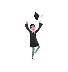 happy male graduate smiling graduation boy vector image