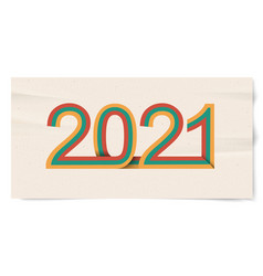 happy new year banner with retro lines 2021 3d vector image