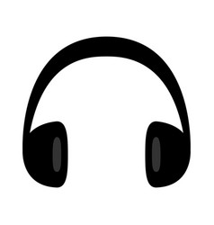 Headphones earphones icon black silhouette music vector