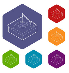 hole for ice fishing icons hexahedron vector image