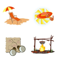 holiday icons beach vector image