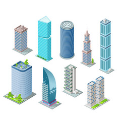Isometric 3d buildings and city skyscrapers vector