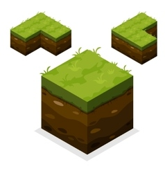 Isometric Landscape Cube land and grass vector