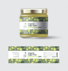 Jam gooseberry label packaging jar sugar free vector