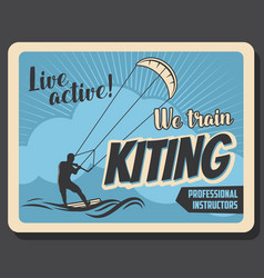 kiteboarding extreme water sport kiting trains vector image