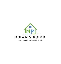 Letter mm home logo design vector