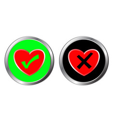 Love and no love button yes and no choice vector