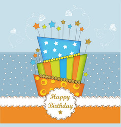 Lovely bierhday card with golden glittering vector