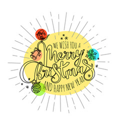 merry christmas calligraphic logo lettering vector image