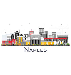 Naples italy city skyline with color buildings vector