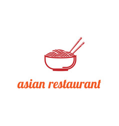 noodles bowl with a pair chopsticks thin line vector image