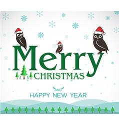 Owl Merry Christmas vector