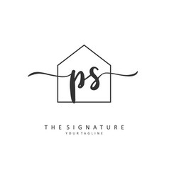 P s ps initial letter handwriting and signature vector