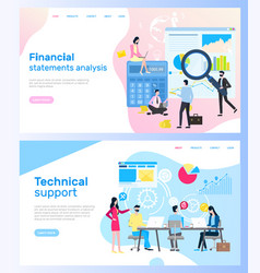 page finances and technical support vector image