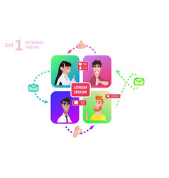 People chatting social media online together vector