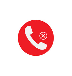 Phone icon missed call sign white on red vector