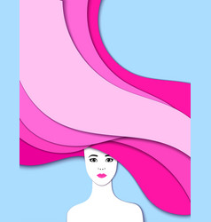 portrait of girl cut of paper 3d vector image