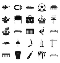 Relocation icons set simple style vector