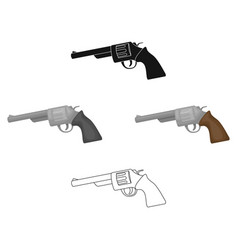 revolver icon in cartoonblack style isolated on vector image