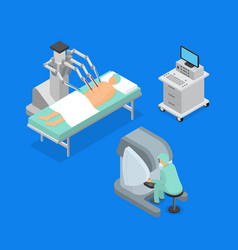 robotic surgery concept 3d icons set isometric vector image