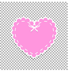 rose paper cut heart sticker with white lacing vector image