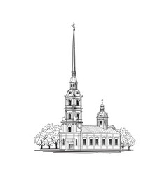 Saint-petersburg city st peter paul cathedral vector
