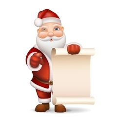 santa claus with a list gifts vector image