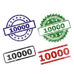 scratched textured 10000 stamp seals vector image