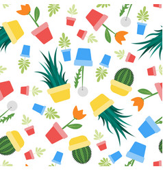 seamless potted plants and flowers print vector image