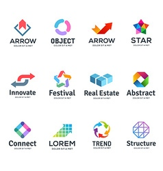Set abstract business logo icon design template vector