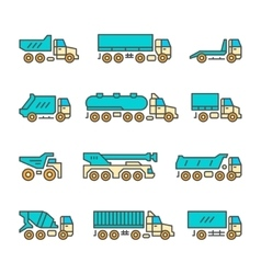 Set color line icons of trucks vector