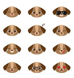 set happy puppies emojis vector image