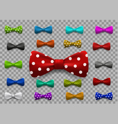 Set multi colored bow tie isolated vector