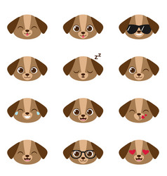 set of happy puppies emojis vector image