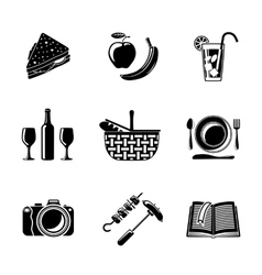 Set of monochrome picnic icons - basket plate vector