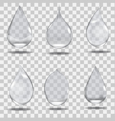 set of realistic transparent drops in gray colors vector image