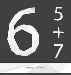Set with low poly numbers 5 6 7 isolated on vector