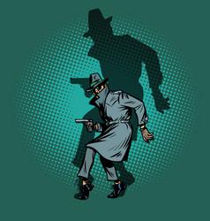 shadow noir detective spy man with gun pose vector image
